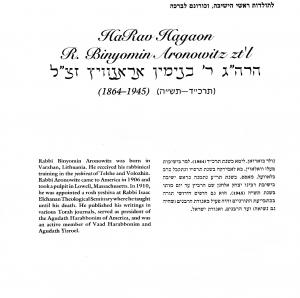 Aronowitz Binyamin Bio