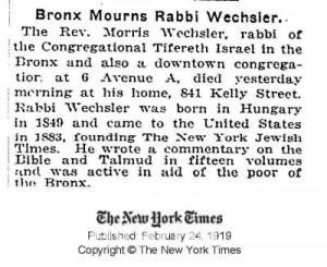 Wechsler Moshe NYT
