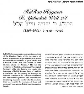Weil Yehuda bio