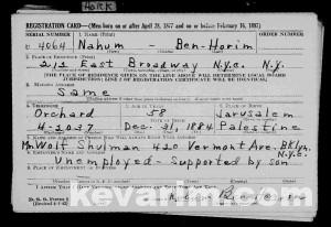 Horim Nachum Dov Woodbridge Registration Card